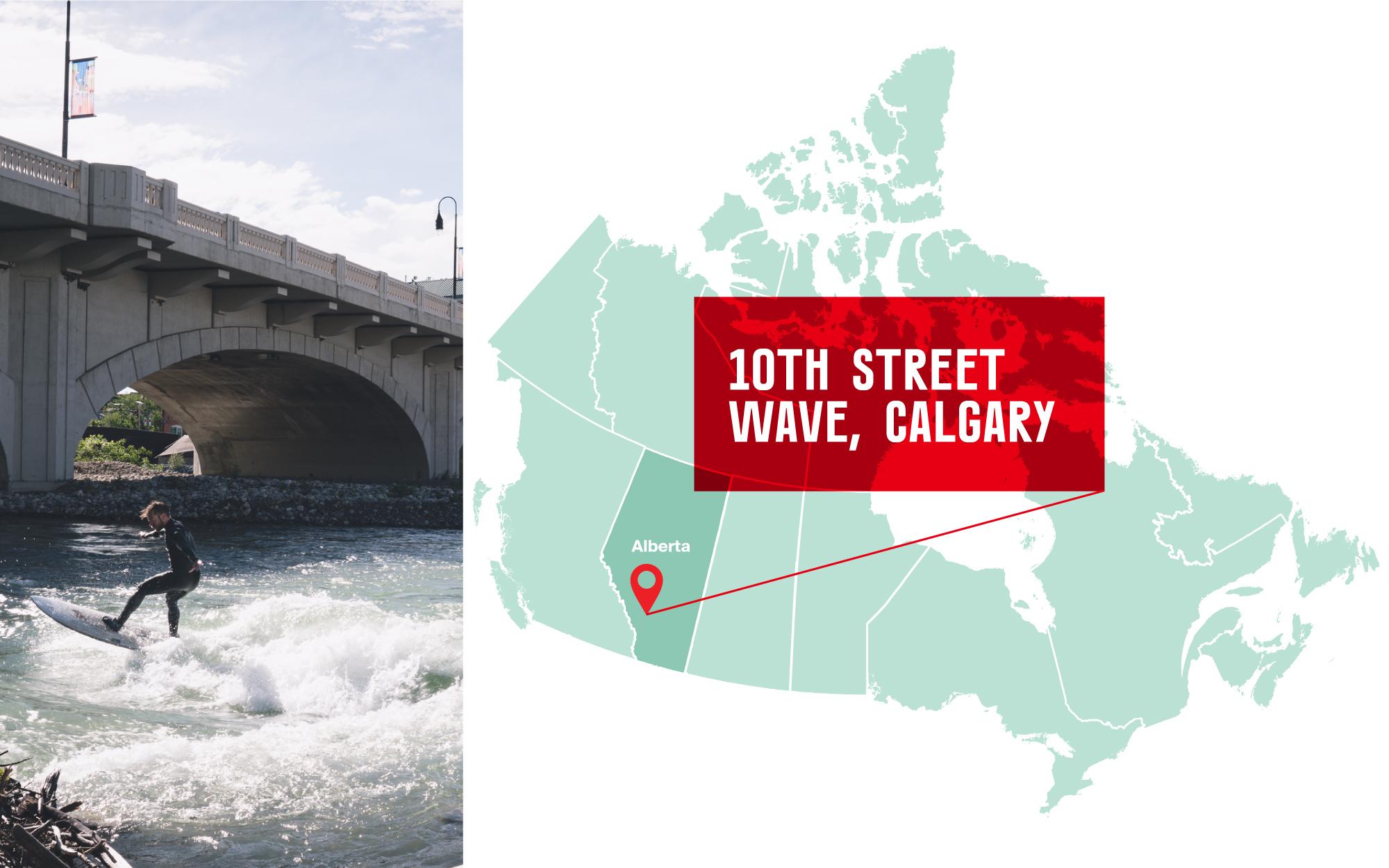 Person surfing under a bridge in Calgary