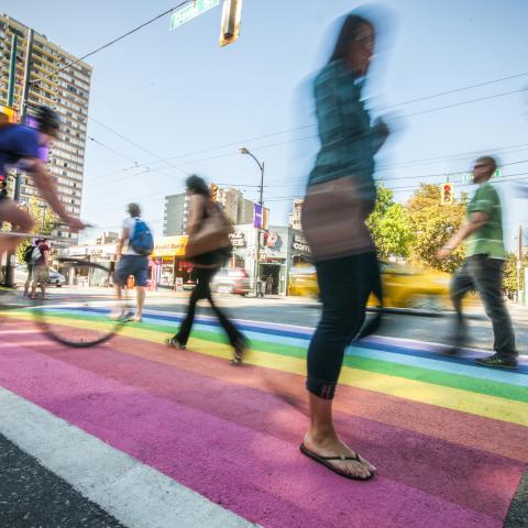 Rainbow sidewalk LGBT Vancouver