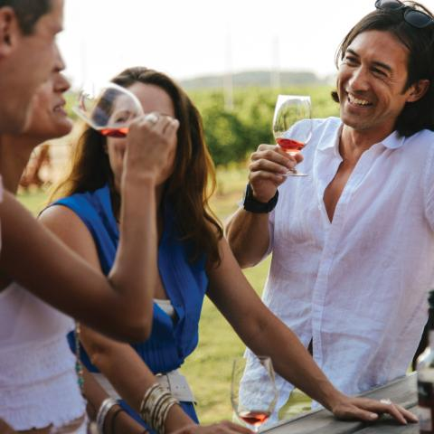 Friends drinking wine in Okanagan