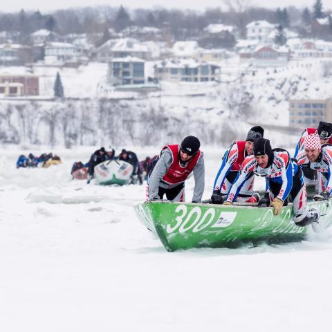 An ice canoe race