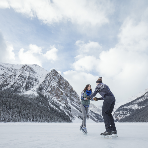 Skating Banff Lake Louise, Alberta