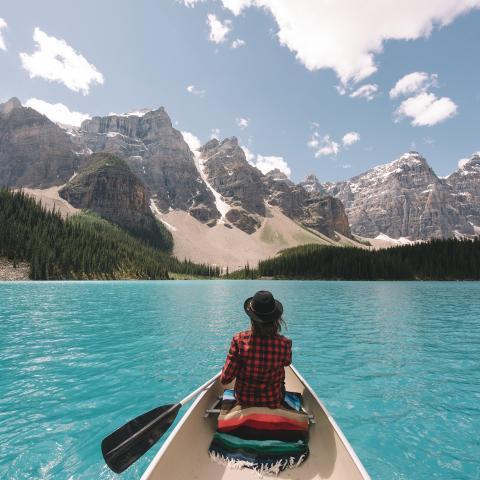 Canoe Moraine Lake's glacier waters