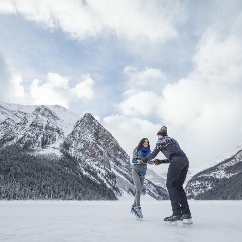 outdoor skating rink, Canadian Rockies, Alberta