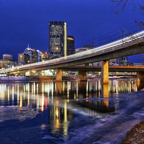 The Calgary skyline at night