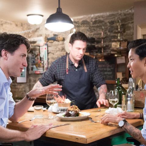 Justin Trudeau, Kristen Kish and Chuck Hughes