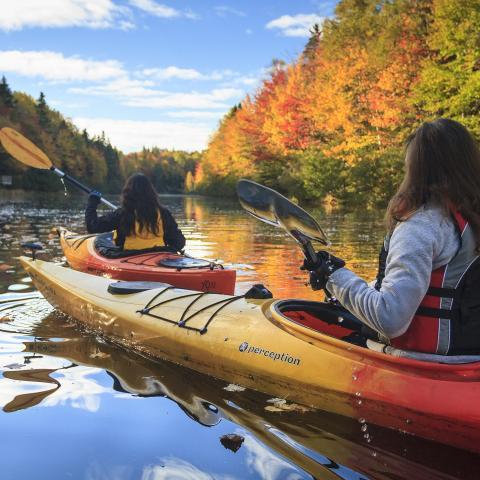 River kayaking in the fall, Prince Edward Island
