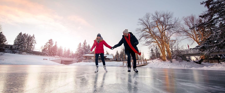 people ice skating in alberta