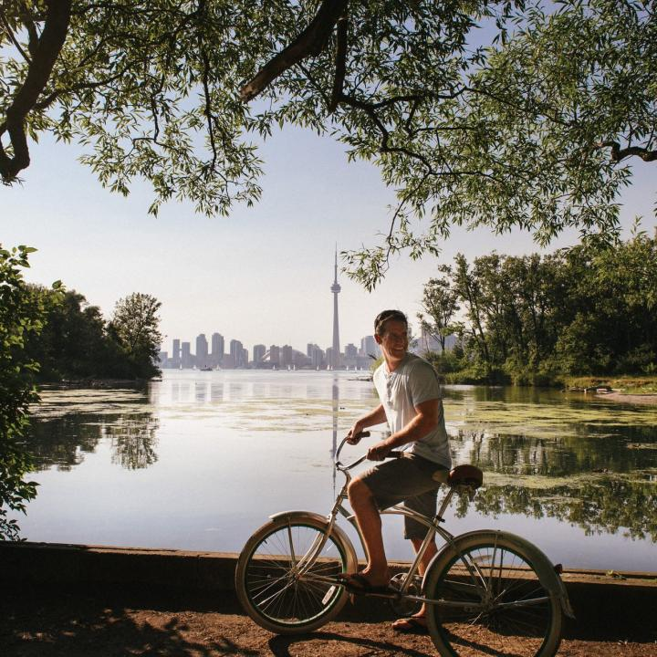 Photo of someone biking in Toronto, Ontario